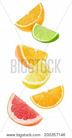 Isolated Falling Citrus Pieces