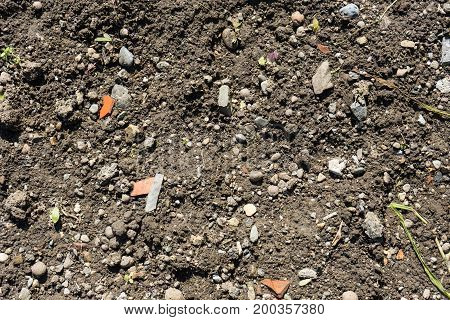 garden earth with small ton pieces close up