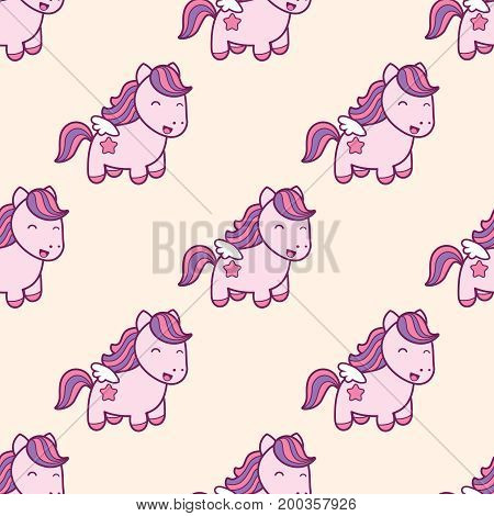 Seamless pattern with pegasus in kawaii japanese style isolated on pink background. Can use for birthday card the childrens menu packaging textiles fabrics wallpaper. Vector illustration