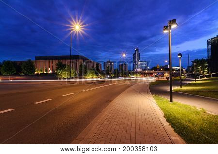 Centrum of Katowice in the evening time. Polish. Europe.