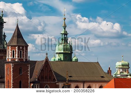 Krakow towers. Symbols of the town. Poland.