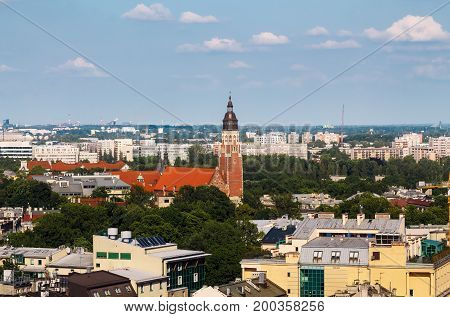 City view of Krakow with roofs and the church. Krakow. Poland