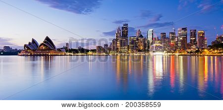 Sydney Skyline And Reflection During Sunrise, New South Wales Australia