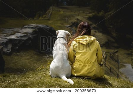 young woman and cute labrador retriever dog puppy cuddle together on a green sunny hill