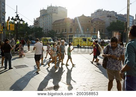 Barcelona Spain - August 17 2017: Terrorist act near the square of Catalonia. Tourists and locals in fear.