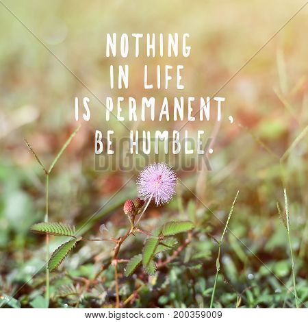 Inspirational And Motivational Quotes - Nothing In Life Is Permanent, Be Humble. Retro Style Backgro