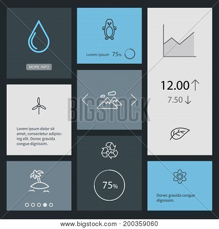 Collection Of Flower, Mountain, Leaf And Other Elements.  Set Of 8 Bio Outline Icons Set.