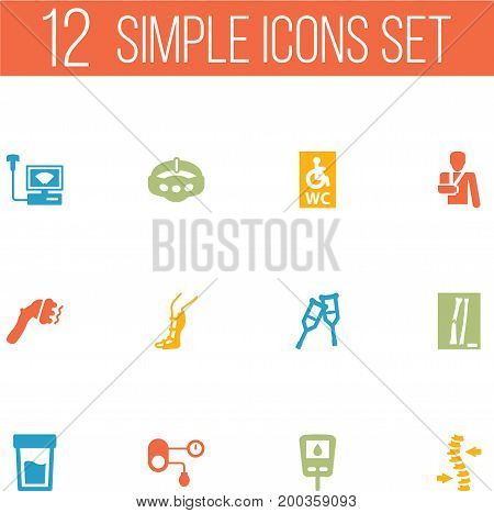 Collection Of Machine, Thorax, Urine Tester And Other Elements.  Set Of 12 Healthy Icons Set.