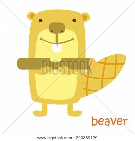 Beaver isolated. Drawing beaver for a child
