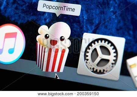New york, USA - August 18, 2017:Popcorntime movie service on laptop screen close-up. Watch movie on popcorntime application