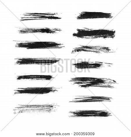 Set of black grunge brush strokes isolated on white background. Vector illustration
