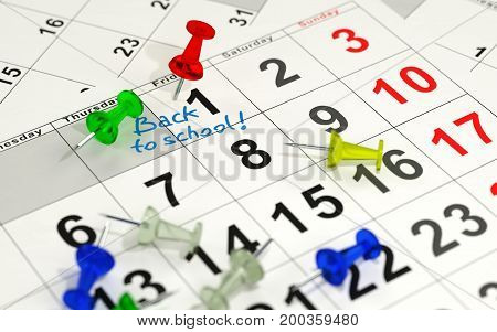 Red pin marking the important day on a calendar. 3D rendering.