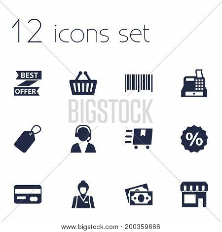 Collection Of Cargo, Percent, Best Offer And Other Elements.  Set Of 12 Magazine Icons Set.
