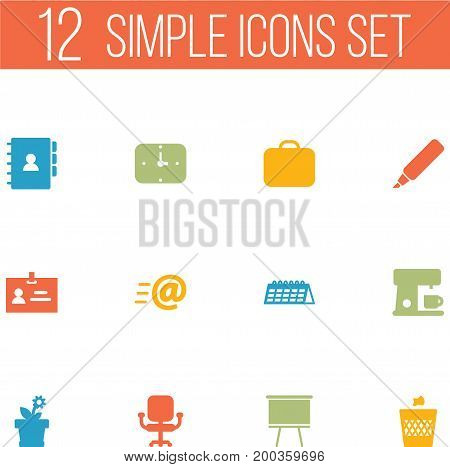 Collection Of Time, Case, Airchair And Other Elements.  Set Of 12 Bureau Icons Set.