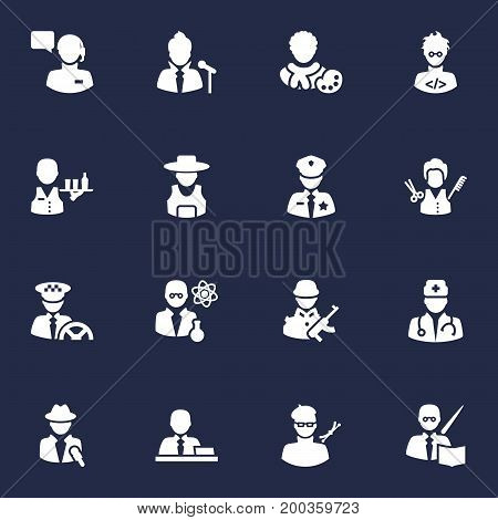 Collection Of Rancher, Stylist, Driver And Other Elements.  Set Of 16 Job Icons Set.