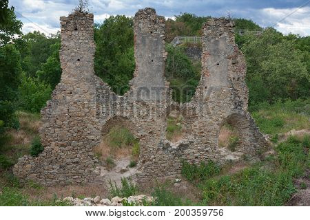 Castle Ruins In The Summer Cloudy Day In Czech Republic