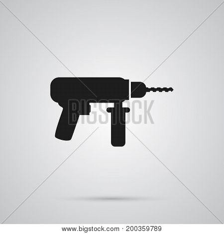 Vector Electric Screwdriver Element In Trendy Style.  Isolated Drill Icon Symbol On Clean Background.