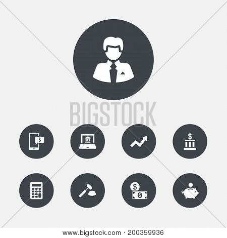 Collection Of Online Banking, Building, Worker And Other Elements.  Set Of 9 Finance Icons Set.