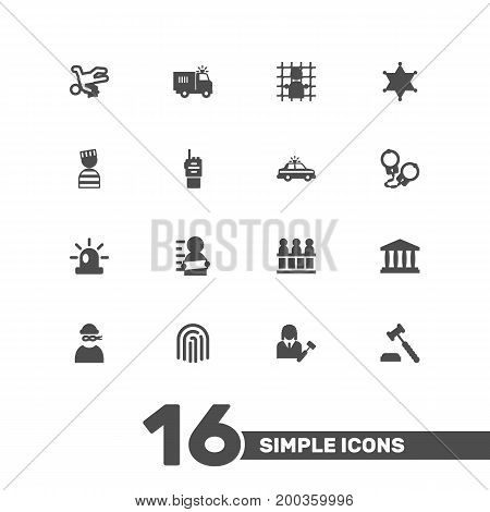 Collection Of Walkie-Talkie, Suspicious, Police Car And Other Elements.  Set Of 16 Criminal Icons Set.