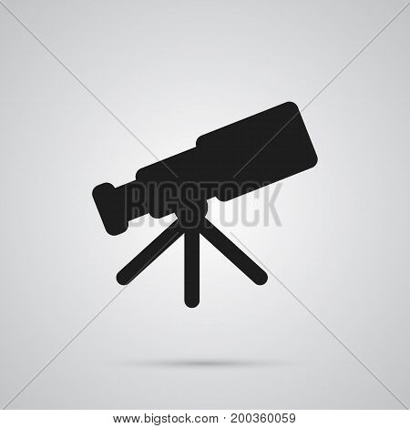 Vector Telescope Element In Trendy Style.  Isolated Astronomy Icon Symbol On Clean Background.