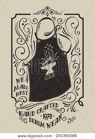 A blacksmith apron with an emblem of an anvil of a hammer and arrows. Victorian style frame with curl and swirl. Typography design for T-shirt, apparel, posters.