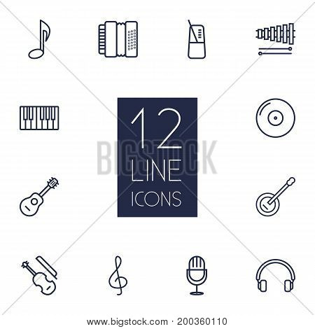 Collection Of Acoustic, Guitar, Musical Sign And Other Elements.  Set Of 12 Music Outline Icons Set.
