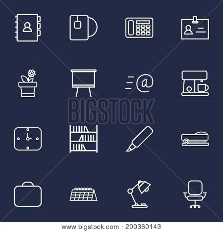 Collection Of Bookshelf, Badge Id, Wall Clock And Other Elements.  Set Of 16 Office Outline Icons Set.
