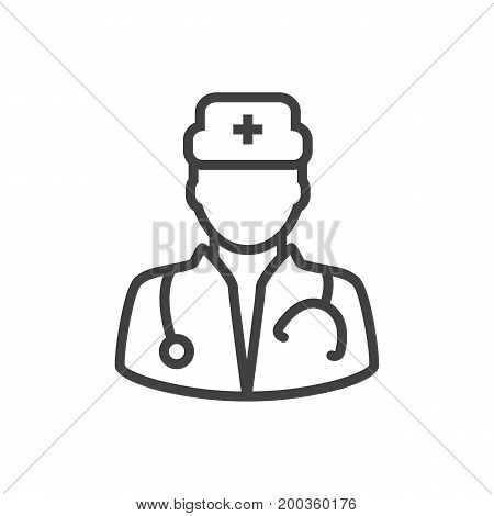 Vector Doctor Element In Trendy Style.  Isolated Medic Outline Symbol On Clean Background.