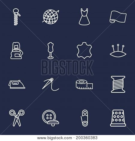 Collection Of Measuring Tape, Zipper, Tremble And Other Elements.  Set Of 16 Tailor Outline Icons Set.