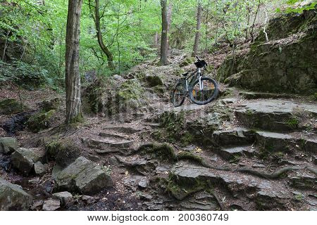 Mountain bike on tourist stone path in the woods.