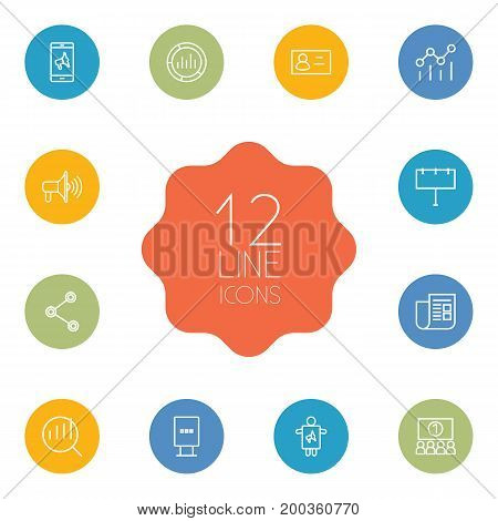 Collection Of Promotion, Campaign, Social Media Ads And Other Elements.  Set Of 12 Commercial Outline Icons Set.