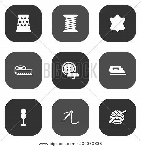 Collection Of Knitting, Tailor, Seamstress And Other Elements.  Set Of 9 Tailor Icons Set.
