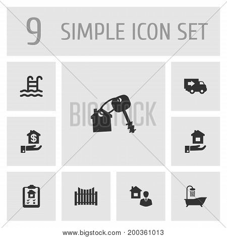 Collection Of Hypothec, House Keys, Truck And Other Elements.  Set Of 9  Icons Set.