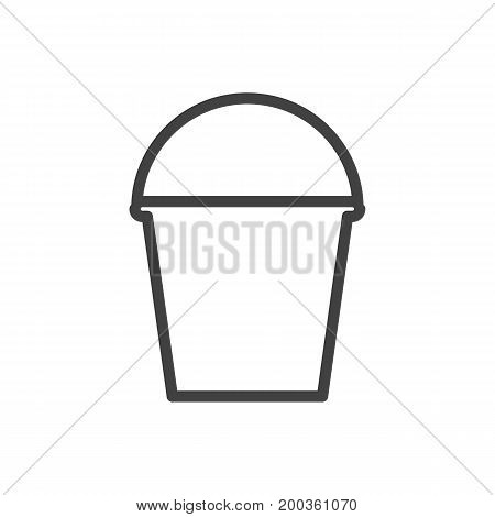Vector Pail Element In Trendy Style.  Isolated Bucket Outline Symbol On Clean Background.