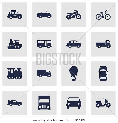 Collection Of Car, Autobus, Truck And Other Elements.  Set Of 16 Shipping Icons Set.