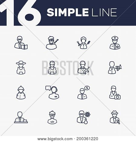 Collection Of Teacher, Servant, Operator And Other Elements.  Set Of 16 Professions Outline Icons Set.