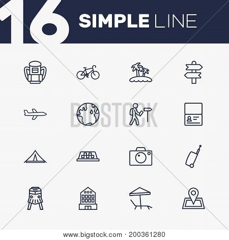 Collection Of Globe, Palm, Parasol And Other Elements.  Set Of 16 Travel Outline Icons Set.