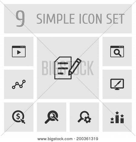 Collection Of Click, Magnifier, Resulting And Other Elements.  Set Of 9 Optimization Icons Set.