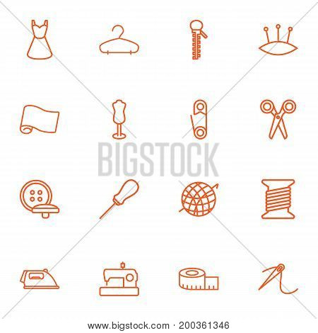 Collection Of Bobbin, Fabric, Iron And Other Elements.  Set Of 16 Sewing Outline Icons Set.