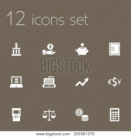 Collection Of Terminal, Balance, Piggy Bank And Other Elements.  Set Of 12 Finance Icons Set.