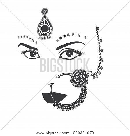 Illustration depicting a woman's face with Indian ornaments