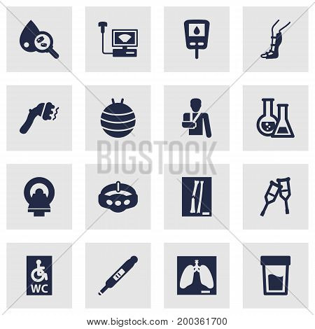 Collection Of Slimming, Splint, Wheelchair Toilet And Other Elements.  Set Of 16 Healthy Icons Set.