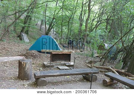 Tourist Camping Tent In The Campgrounds In The Woods