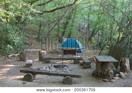 Tourist Camping Tent In The Woods