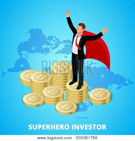 Isometric superhero businessman investor on a stack of bitcoin. Concept for web or infographics vector illustration. Earnings growth concept bitcoin, mining crypto. Vector illustration