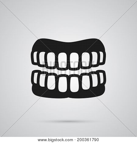 Vector Prosthesis Element In Trendy Style.  Isolated Denture Icon Symbol On Clean Background.