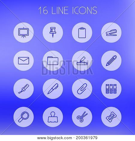 Collection Of Marker, Portfolio, Zoom Glasses And Other Elements.  Set Of 16 Stationery Outline Icons Set.