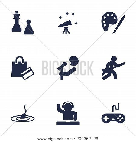 Collection Of Singer, Rod, Drawing And Other Elements.  Set Of 9 Entertainment Icons Set.