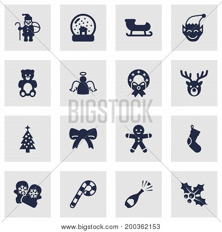 Collection Of Mitten, Christmas Wreath, Socks And Other Elements.  Set Of 16 Holiday Icons Set.