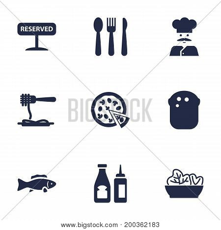 Collection Of Silverware, Registered, Catsup And Other Elements.  Set Of 9 Bar Icons Set.